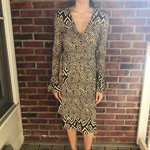DIANE VON FURSTENBERG Brown/Tan Silk Wrap Dress 2